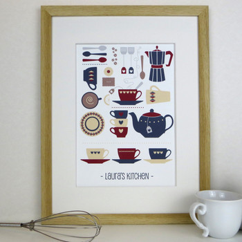 Personalised Graphic Kitchen Print - framed