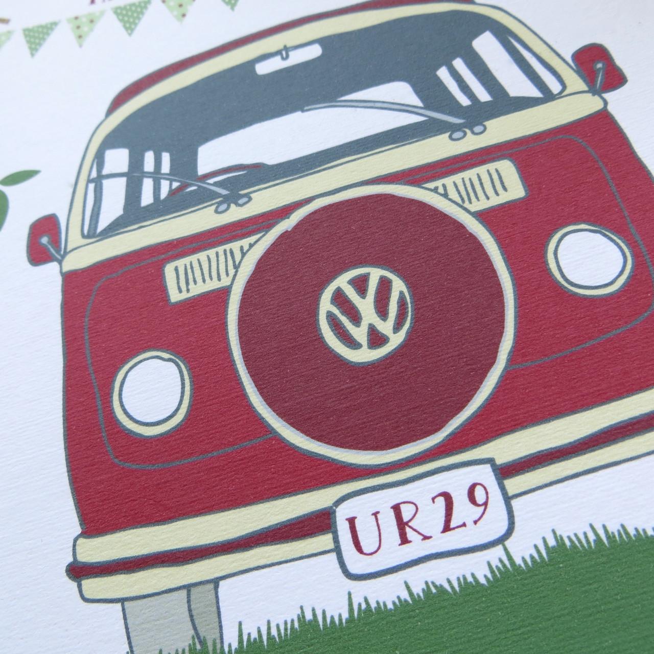 ac645a22b2 Personalised Retro Camper Van Birthday Card - close up.
