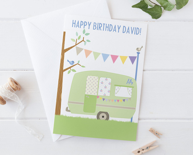 Vintage Caravan Card By Wink Design 40th 50th 60th 70th Birthday