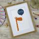Personalised Fun Giraffe Name Print For Children - blue - framed