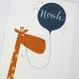 Personalised Fun Giraffe Name Print For Children - blue