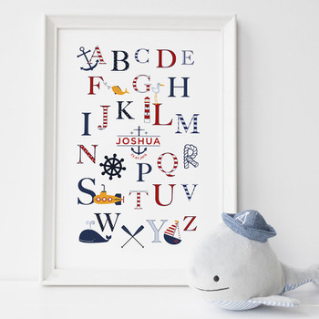 Personalised Nautical Alphabet Print for Children