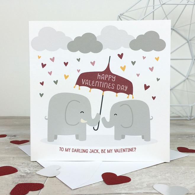 Elephants Personalised Valentines Card