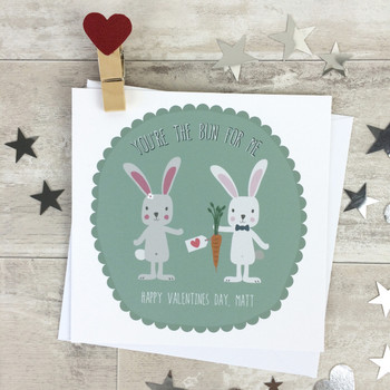 You're The Bun For Me Personalised Valentines Card
