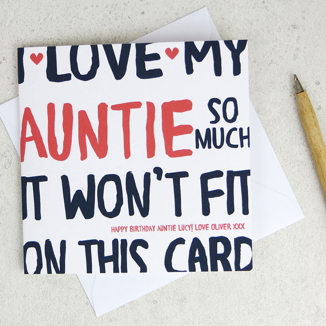 I Love My Auntie So Much Birthday Card by Wink Design