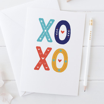 Wink Design - XOXO Hugs and Kisses - Love Card, Valentines Card