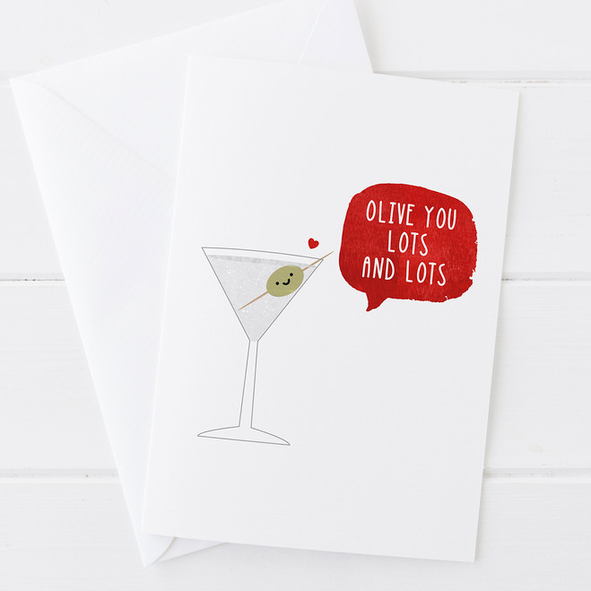 Wink Design - Olive You Lots and Lots - Funny Valentines Card