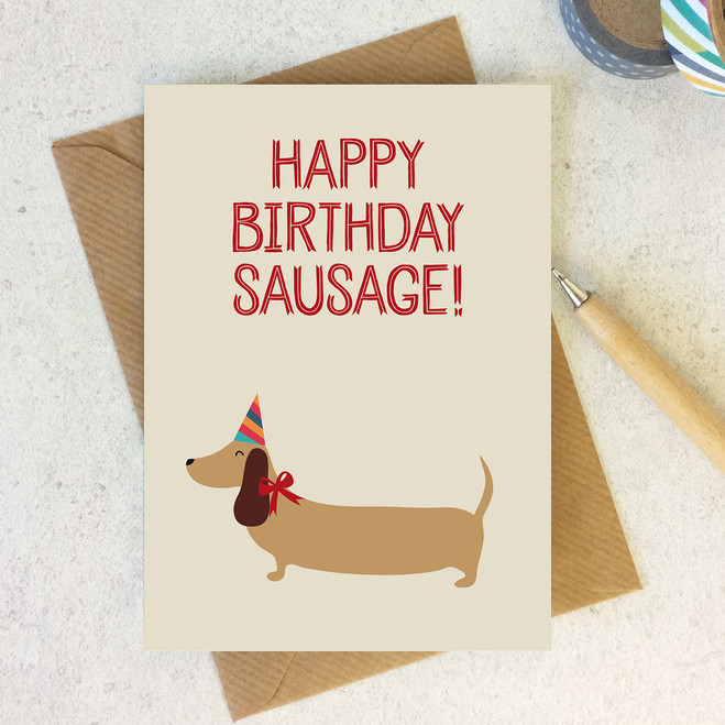 Wink Design - Animal Pun Card - Happy Birthday Sausage - Birthday Card