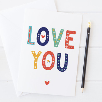 Wink Design - LOVE - I Love You - Love Card, Valentines Card