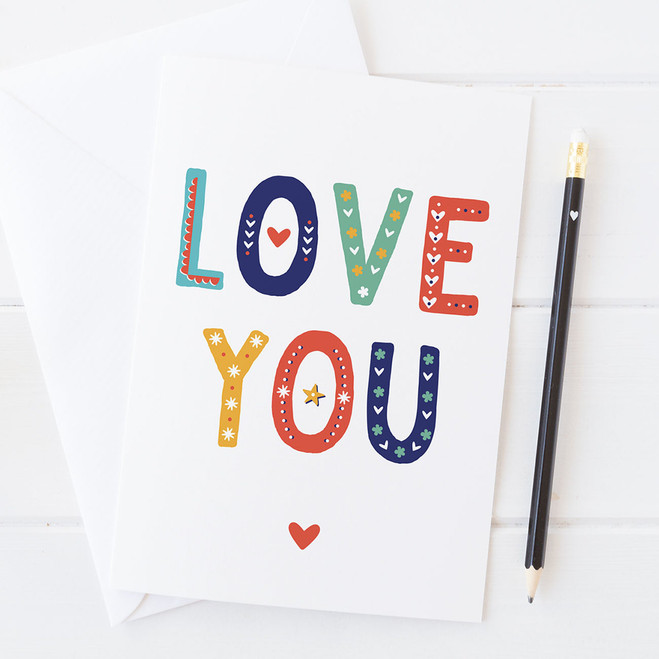 Wink Design - LOVE - I Love You - Love Card, Valentines Card