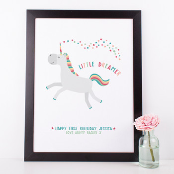 Little Dreamer  Unicorn Nursery Print by Wink Design