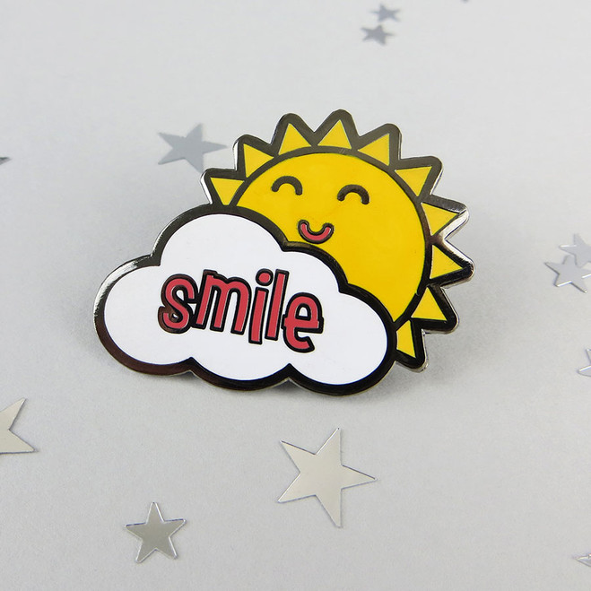 Sunshine Smile Enamel Pin Badge by Wink Design