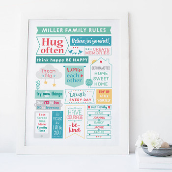 Colourful Family Rules Print by Wink Design