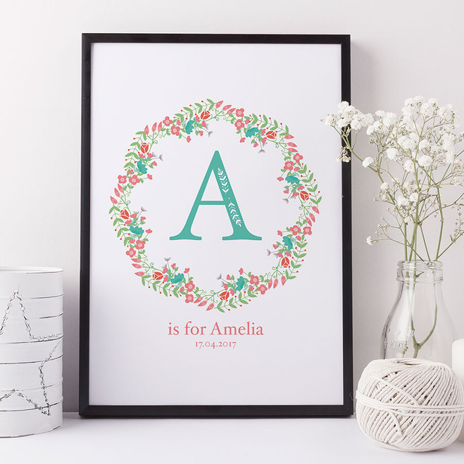 Floral Initial Letter Birth or Christening Print by Wink Design