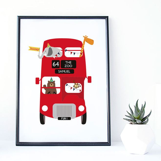 Zoo Bus Personalised London Bus Print for Children