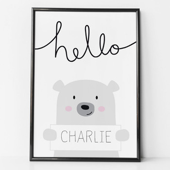 Hello Bear Personalised Print for children by Wink Design