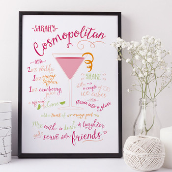 Personalised Cosmopolitan Cocktail Print