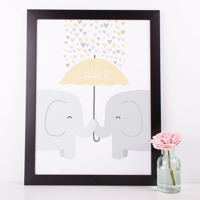 Elephants Nursery Print - yellow peach