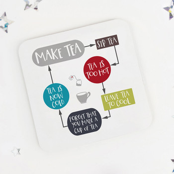 Tea Flowchart: Funny Drinks Coaster