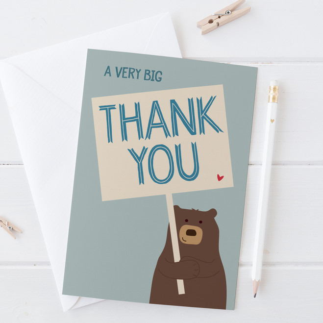 Wink Design Very Big Thank You Bear Card