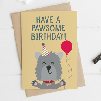 Cute Dog Birthday Card - 'Have a Pawsome Birthday'