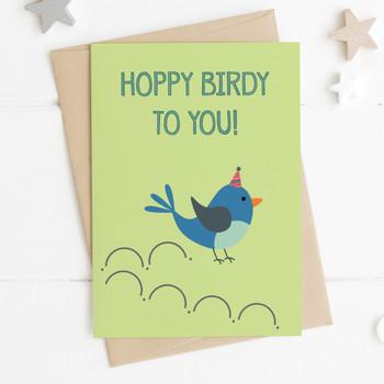 Funny Bird Birthday Card - 'Hoppy Birdy'