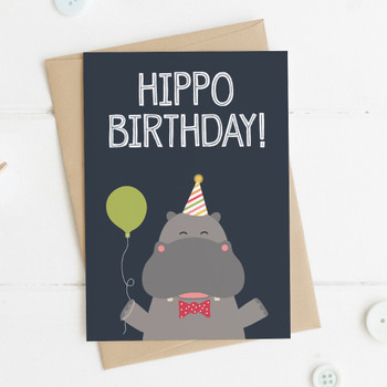 Funny Hippo Birthday Card - 'Hippo Birthday!'