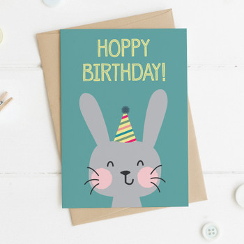 Cute Rabbit Birthday Card - 'Hoppy Birthday!'