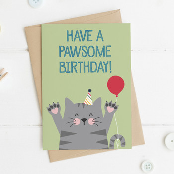 Cute Cat Birthday Card - 'Have a Pawsome Birthday!'