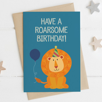 Cute Lion Birthday Card - 'Have a Roarsome Birthday!'