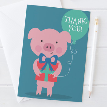 Cute Pig Thank You Card
