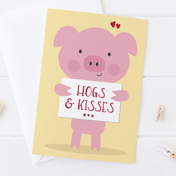 Hogs and Kisses Cute Pig Card