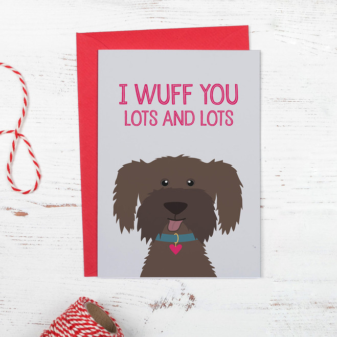 Cute Brown Dog I Wuff You Anniversary or Valentine Card