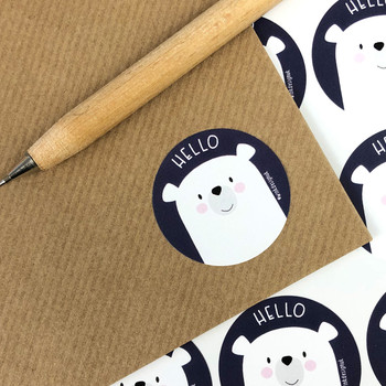 Bear Hello Stickers by Wink Design