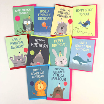 Party Animals Birthday Card Selection Pack by Wink Design