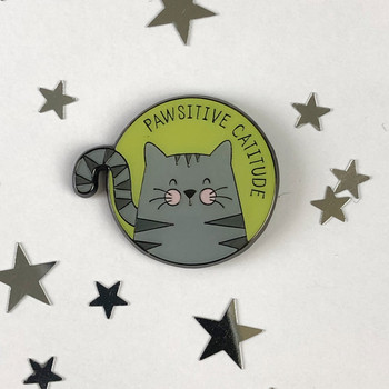 Pawsitive Catitude - Cat Enamel Pin by Wink Design