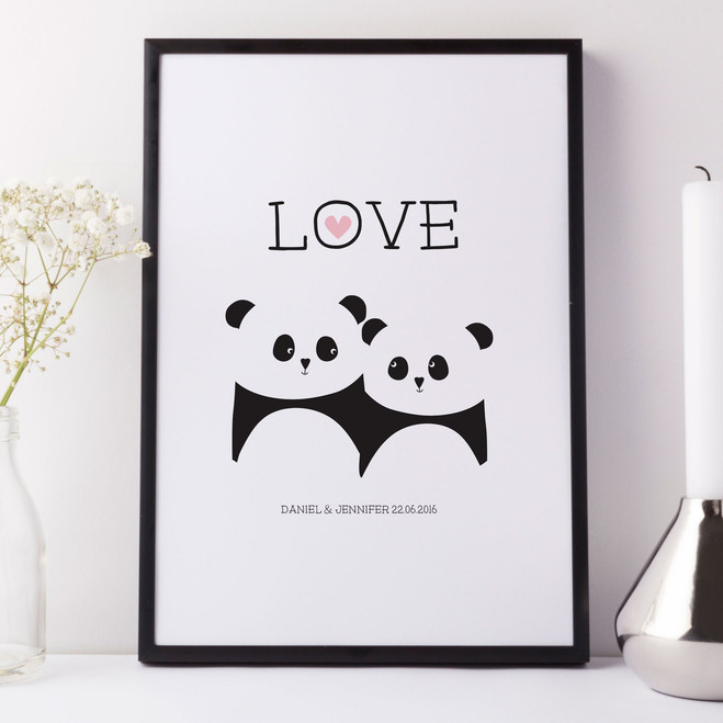 Panda Bear Personalised Love Print