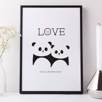 Panda Bear Personalised Love Print