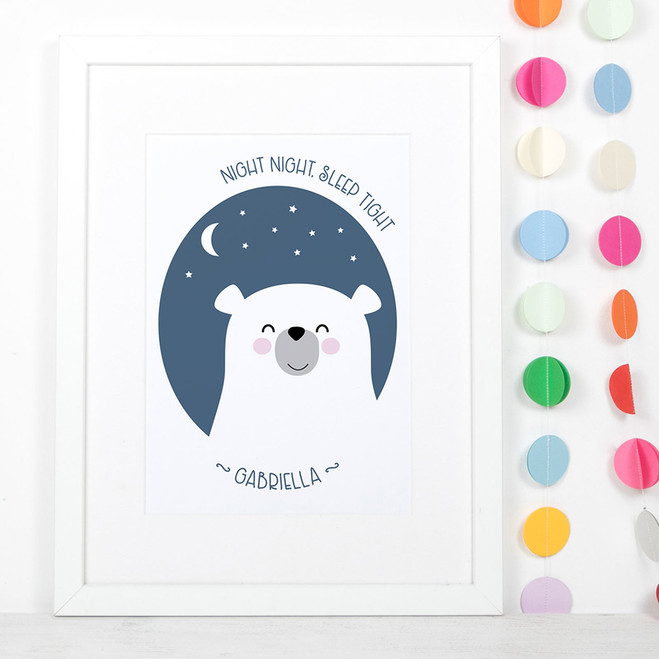 Night Night Sleep Tight Bear Nursery Print