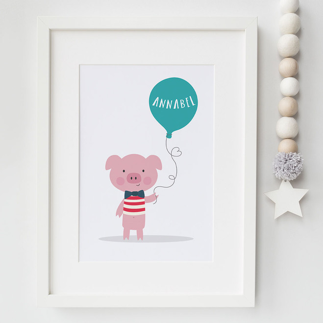 Little Piglet Personalised Pig Print