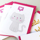 Pack of Six Cute Cat and Happy Sunshine Note cards
