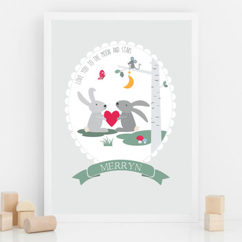 Love You To The Moon And Stars - Personalised Nursery Print
