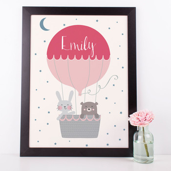 Up Up And Away Air Balloon Personalised Nursery Print