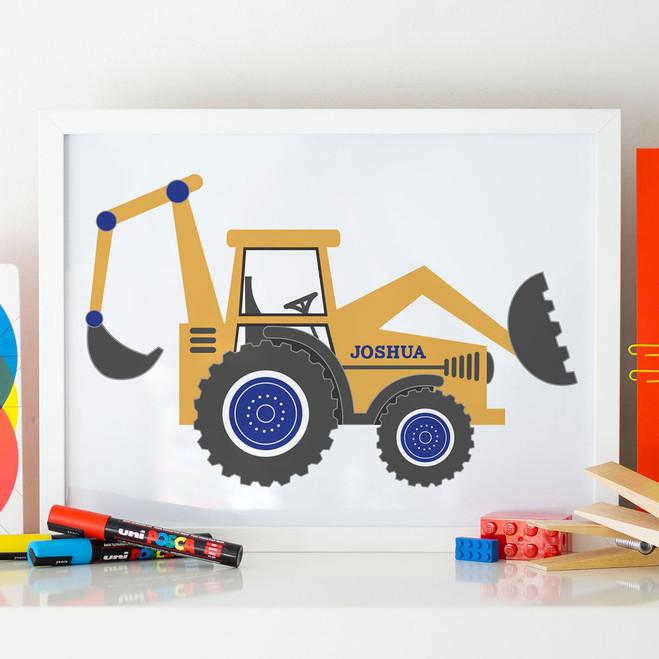 Big Yellow Digger Personalised Print