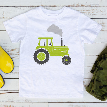 Personalised Tractor Tshirt for Children - green