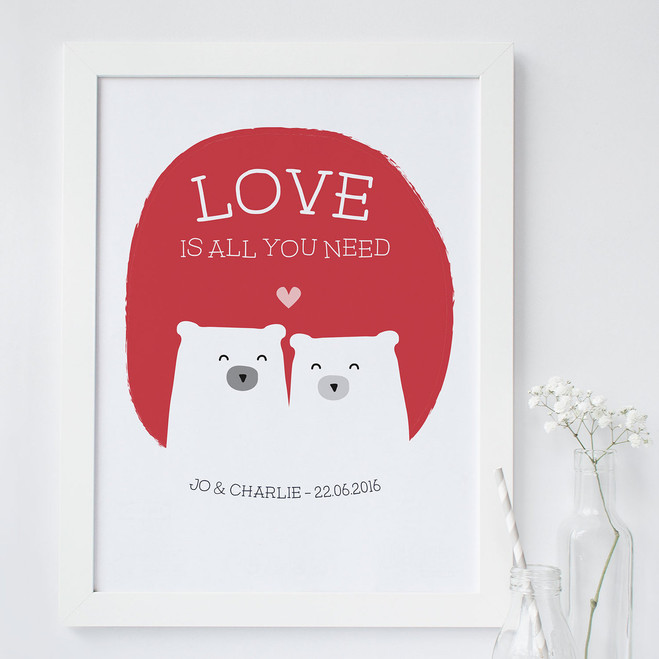 Love is All You Need Personalised Bear Love Print  - Red