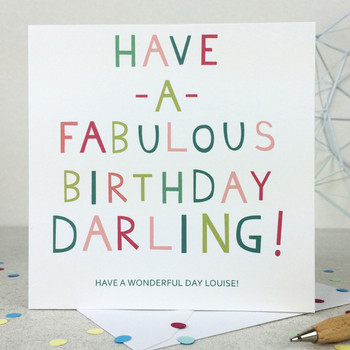 Funny 'Fabulous Darling' Birthday Card