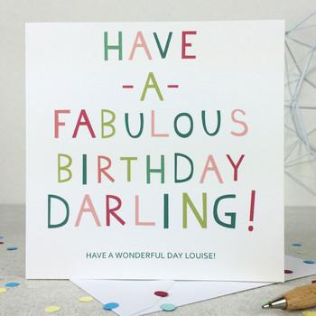 Funny 'Fabulous Darling' Birthday Card