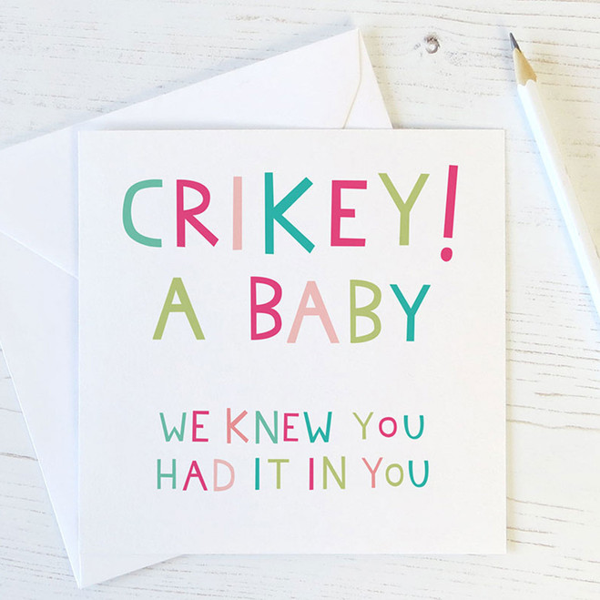 Crikey A Baby! Funny Birth Congrats Card