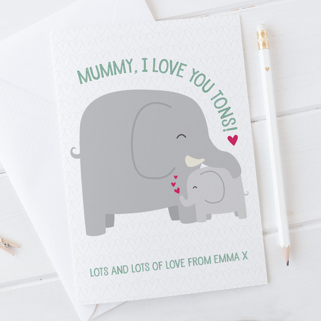 Personalised Elephant Mothers Day Card - I Love You Tons